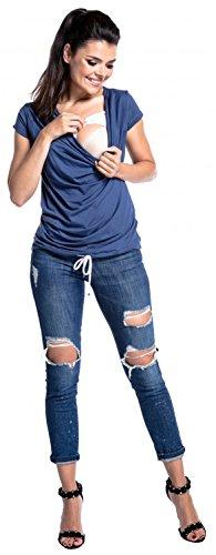 Grigio Zeta allattamento Ville disegno volant maniche corte top strati Blu 707c Donna PrHfxwnqP