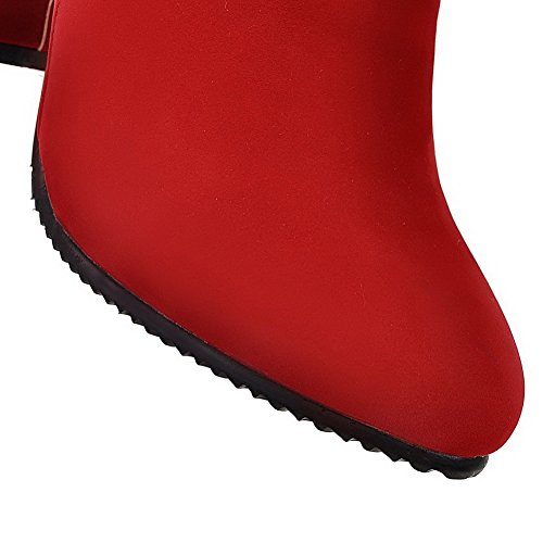 Toe Pointed Closed Women's Zipper High Ankle Boots Red Heels WeenFashion high Solid AqYw0ZZR