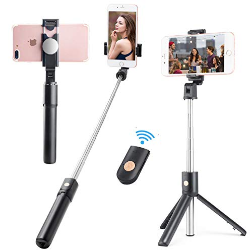 (WIYFA Selfie Stick Tripod Stand Holder Extendable with Bluetooth Remote 360°Rotatable Phone Holder with Back View Mirror-Black 02 (A01-selfie Stick))