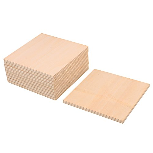RDEXP 10x10cm Blank 5mm Thickness Wooden Board Unfinished Unpainted Wood Sheets for Wood DIY Craft Carving Modeling Set of 10 by RDEXP