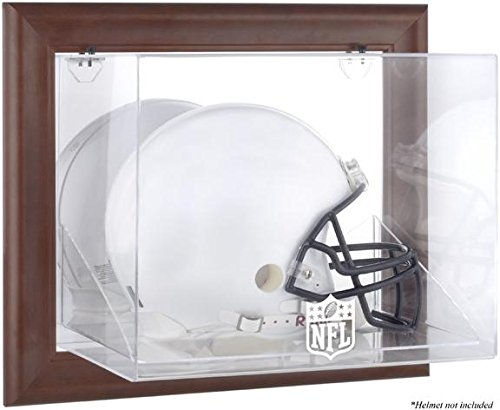 NFL Brown Framed Wall Mounted Helmet Logo Display Case by Sports Memorabilia
