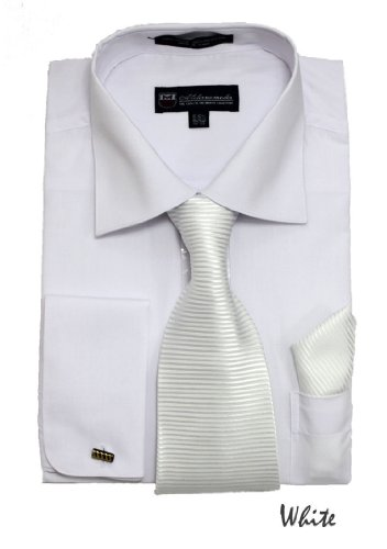 Milano Moda Solid Dress Shirt with Tie, Hankie & French Cuffs SG27-White-18-18 1/2-34-35