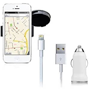Soporte para iPhone 5 + 2 en 1 cable cargador para iPhone 5 5S 5C ** compatible con todos los dispositivos IOS 7** Soporte giratorio a 360º