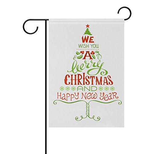 U LIFE Merry Christmas Tree Happy New Year Garden Yard Flag Banner for Outside House Flower Pot Double Side Print 40 x 28 or 12 x 18 Inch