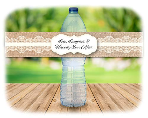 48 Rustic Burlap and Lace Water Bottle Decal Stickers | Indoor or outdoor Country Wedding | (Ivory) -