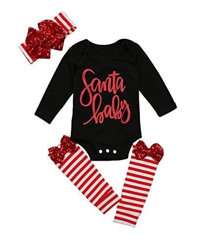 Ma&Baby 3pcs Baby Girl Sequin Cute Long Sleeve Romper Leg Warmers Hairband Outfits Christmas Costume (0-6 Months)