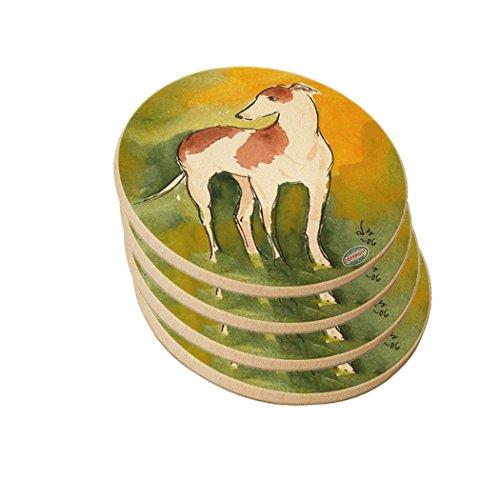 Natural Sandstone Drink Coaster Set - Red Spotted Greyhound Standing Dog Art by Denise Every (Art Dog Greyhound)