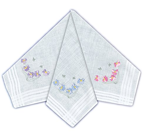 ETHO 12 Pack Womens Handkerchiefs With Coloured Floral Embroidery from ETHO
