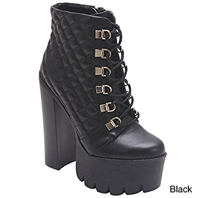 ROCKER17 Women's Round Toe Lace Up Side Zipper Platform Chunky Ankle Boot Color:BLACK Size:8.5