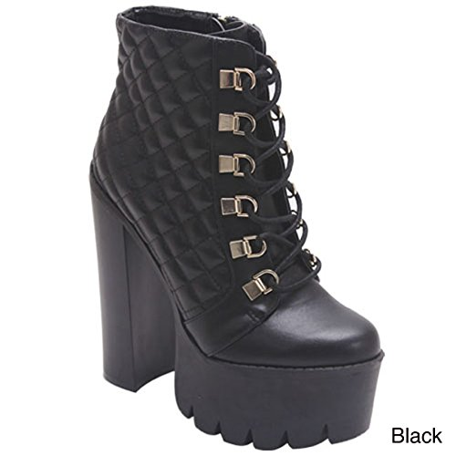 ROCKER17 Women's Round Toe Lace Up Side Zipper Platform Chunky Ankle Boot Color:BLACK Size:7
