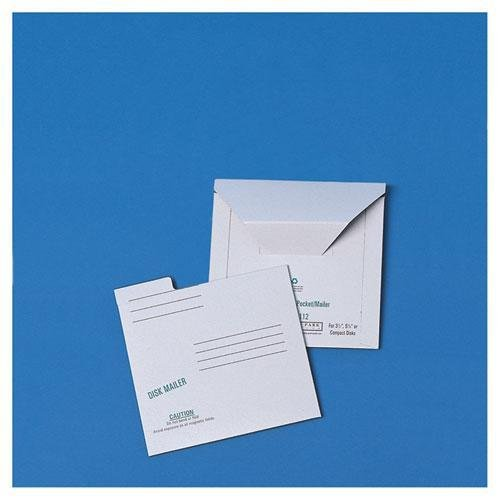 S 64112 Redi-File Disk Pocket Mailer, 6 x 5-7/8, Recycled, White, 10/Pack ()