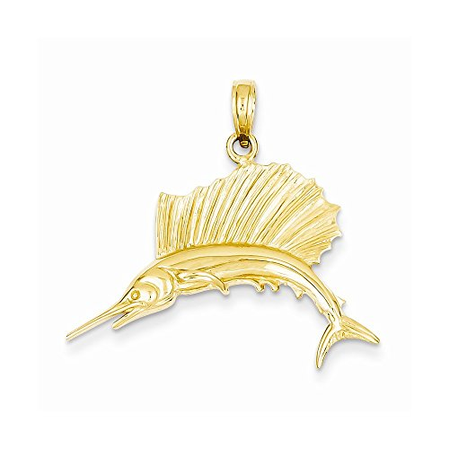 14k Yellow Gold Polished Sailfish Pendant by Nina's Jewelry Box