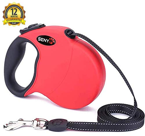 (SENYE Nylon Retractable Dog Leash 17 Foot for Small Medium Large Size Breed Dogs, Ribbon One-Handed Brake Heavy Duty Dog Leashes Tangle-Free, Pause, Lock,)