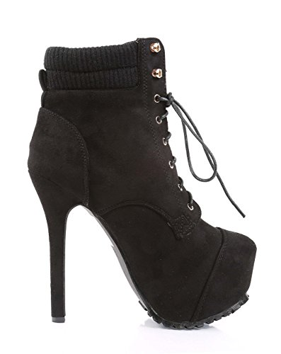 New Sexy Party Combat Military Zipper Lace up Stilettos Mid Calf 6