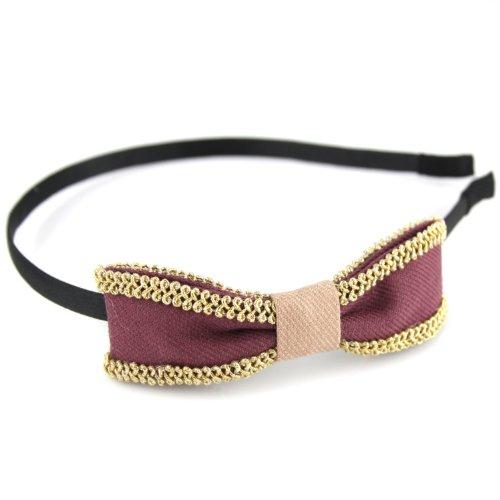 Two Tone Canvas Bow Hair Head Band - Golden Braid Trim Black Ribbon - Plum Violet & Antique (Violet Trim)