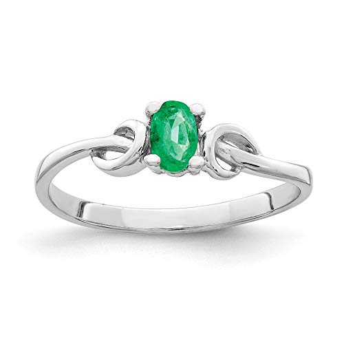 Emerald 5x3mm Oval (14K White Gold 5x3mm Oval Emerald Ring)