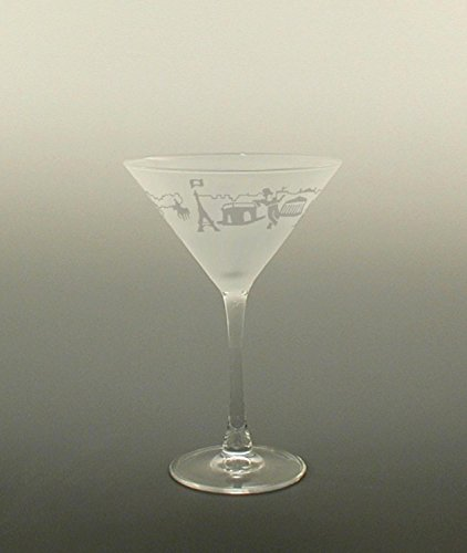Set of 4 Paris Etched Martini Cocktail Drinking Glasses 7.25 ounces by Diva At Home