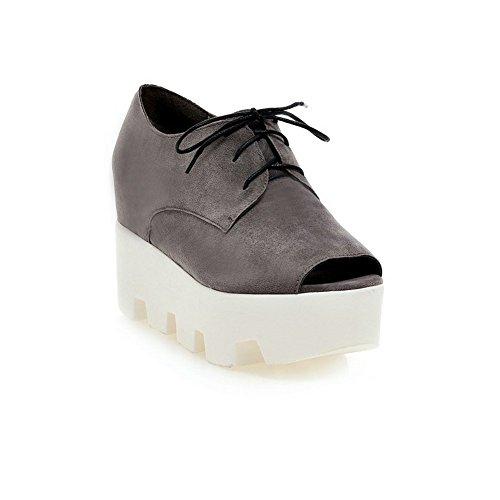 Adee Ladies Lace-Up Peep-Toe Polyurethane Sandals Grey