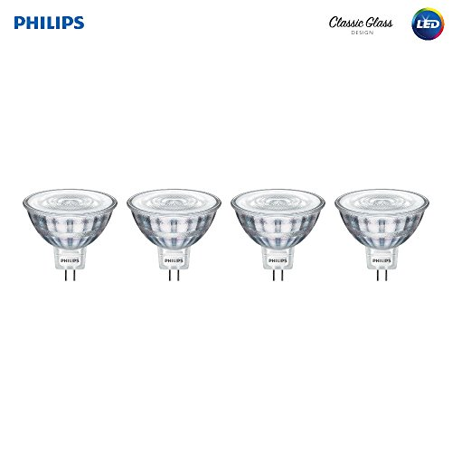 Philips LED Classic Glass MR16 Dimmable 35-Degree Spot Light Bulb: 380-Lumen, 3000-Kelvin, 5.5-Watt (35-Watt Equivalent), GU5.3 Bi-Pin Base, Bright White, 4-Pack