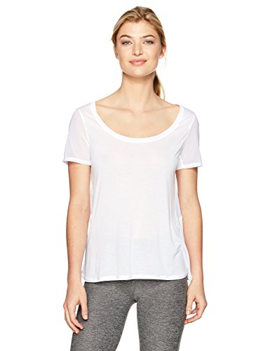 (Alo Yoga Women's Luxx Short Sleeve Top, White, S)