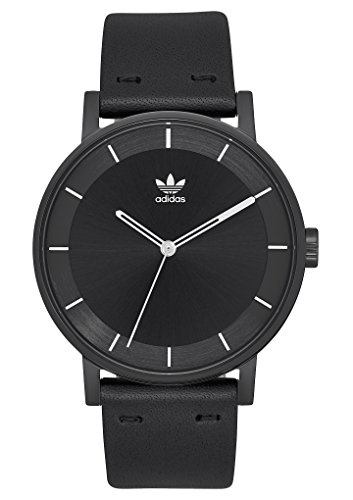 adidas Watches District_L1. Genuine Leather Strap Watch, 20mm Width (All Black/Silver. 40 mm). ()