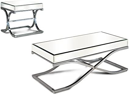 HOMES Inside Out Luxy Coffee Table Set, Chrome