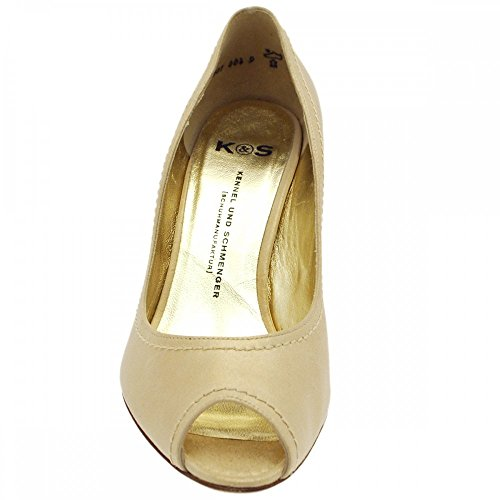 Kennel & Schmenger Peep Toe Silk Creamy Suede Gold