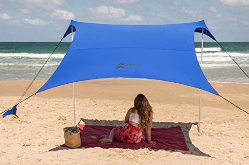 Artik Beach Tent Sunshade Family Size 9.8 X9.8 , 7ft Tall with Sandbag Anchors, Simple Versatile. SPF50, Lycra SunShelter for The Beach,Camping and Outdoors.