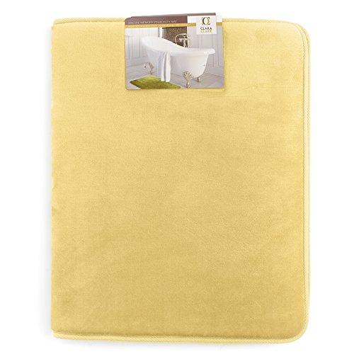 Clara Clark Bath Mat Bathroom Rug - Absorbent Memory Foam Bath Rugs - Non-Slip, Thick, Cozy Velvet Feel Microfiber Bathrug, Plush Shower, Toilet Floor Bathmats Carpet - Gold - Large Size 20x32