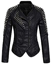 Black Punk Stylish Zip & Studded Faux Leather Moto Jacket