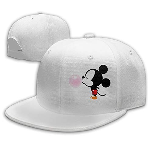 Sakanpo Balloon Mickey Mouse Flat Visor Baseball Cap, Designed Snapback Hat White -