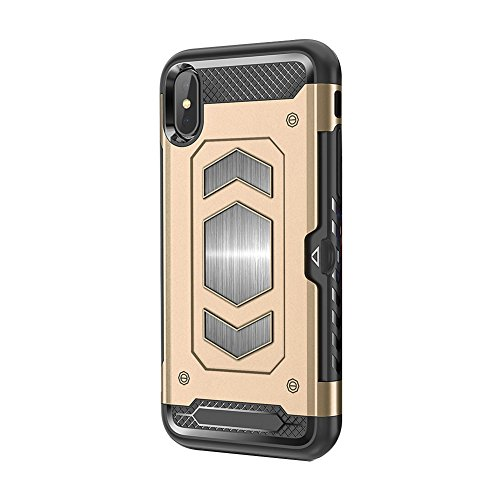 iPhone X CaseMagnetic Dual Layer Wallet Card Slot Kick-Stand Armor Series Hybrid Case with Card Slot Slide&Magnetic car Mount (iPhone 7/8, Gold) ()
