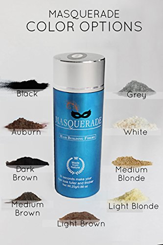 Masquerade Medium Blonde Hair Building Fiber Hair Powder to give Men and Women a Full Thicker Looking Head of Hair .25g/.88oz bottle for Thinning hair. Natural Hair Loss Concealer in 9 Colors