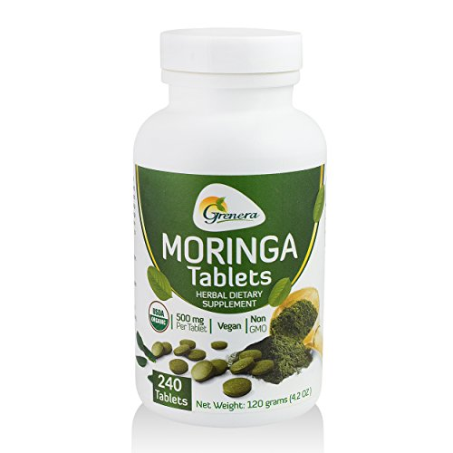 Grenera Organic Moringa Tablet – 240 Tablets/Bottle – Certified Organic (500 mg / uncoated tablet)/ Malunggay Tablet Review