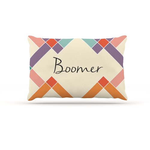 Large 30\ Kess InHouse Boomer  colorful Geometry Name Fleece Dog Bed, 30 by 40Inch, Rainbow Tan
