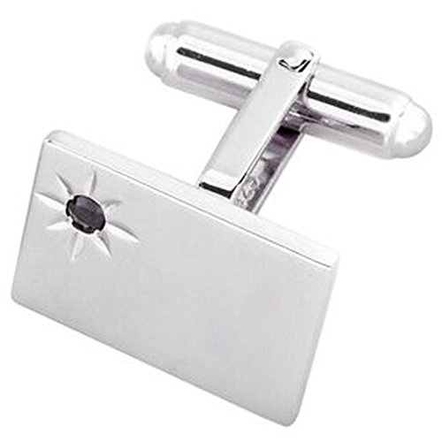 (Sterling 925 Solid Silver Rectangular Blue Sapphire Cufflinks)