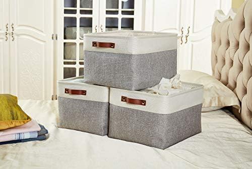 41BmSiz%2BiPL. AC - DECOMOMO Foldable Storage Bin | Collapsible Sturdy Cationic Fabric Storage Basket Cube W/Handles For Organizing Shelf Nursery Home Closet (Grey And White, Extra Large - 15.8 X 12.5 X 10-3 Pack)