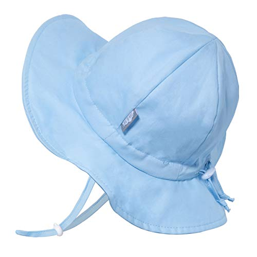 Kids Foldable Summer Sun-Hat 50 UPF, Drawstring Adjustable, Stay-on Chin Strap (L: 2-5Y, Blue)
