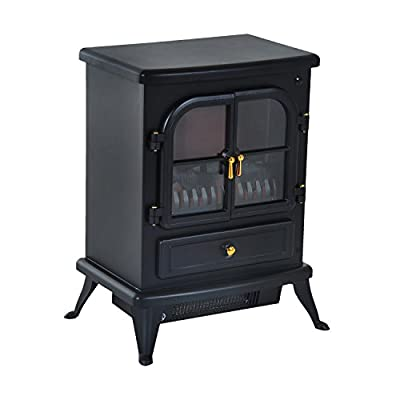 """HomCom 17"""" 1500W Free Standing Electric Fireplace w/Timer and Remote - Black"""