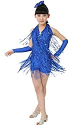 Girls Halter Tassels Latin Dance Dress Performance Clothing Set Size 150 - Red