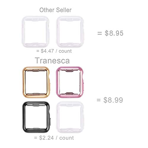 Tranesca 4 Pack 38mm Apple Watch case with Built-in HD Clear Ultra-Thin TPU Screen Protector Cover Compatible with Apple Watch Series 2 and Apple Watch Series 3 38mm - Clear+Black+Gold+Rose Gold