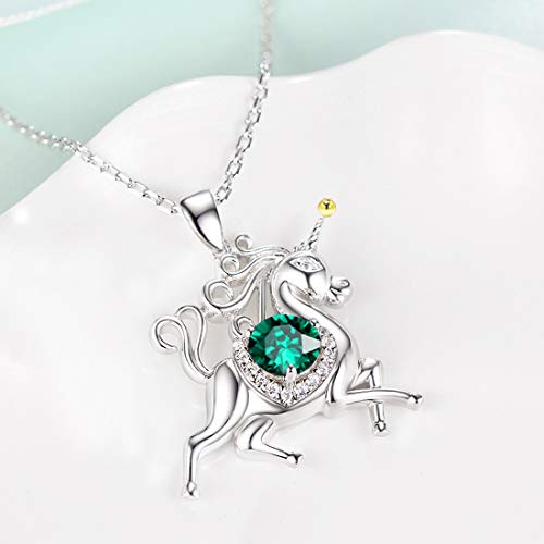 Unicorn July Birthstone Red Ruby Necklace Jewelry Birthday Gifts for Women Girls Sterling Silver Animal Pendant 20 Chain