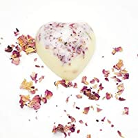 Heart Shaped Homemade Lotion Bar, Rose Petals, Hard Lotion Bar, Handcrafted Lotion