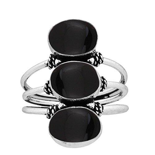 (925 Silver Plated 9.80ct, Genuine Black Onyx 8x10mm Oval Handmade Fashion Ring (Size8))
