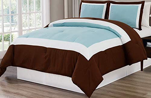 Hemau Premium New Soft 3 Piece Light Blue/Brown/White Goose Down Alternative Color Block Comforter Set, Cal King Size Microfiber Bedding, Includes 1 Oversize Comforter and 2 Sha | Style 503194715