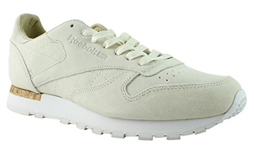 Reebok Men's CL Leather LST Fashion Sneakers Classic White/Paperwhite 9 D(M) (New Mens Authentic Suede Sneaker)