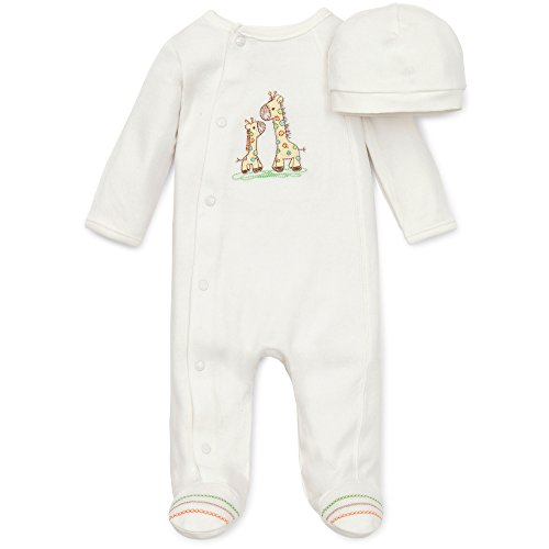 (Little Me Unisex Baby 2 Piece Footie and Cap, Giraffe, Ivory, Preemie)