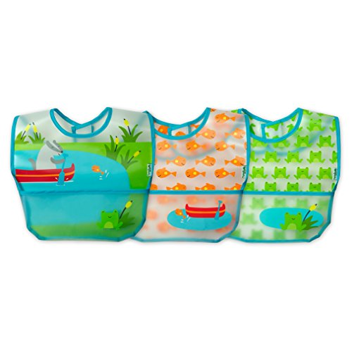 green sprouts Wipe-off Bibs (3 pk) | Waterproof protection for messy eaters | Flip-pocket easily catches stray food, Extra-long coverage to protect clothes, Made from safer plastic, Adjustable closure ()