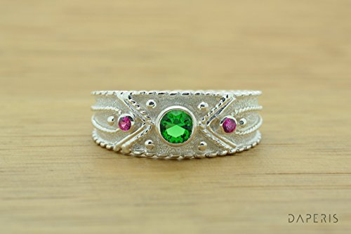 Style Etruscan Ring (Emerald Cz Byzantine Style Ring, Byzantine Rubies Emerald CZ Ring, CZ Band Ring, Sterling Silver Ring, Etruscan Style Ring, Byzantine Ring, Greek Jewelry, Luxury Ring, Medieval Ring, Elegant Sterling Silver Ring)