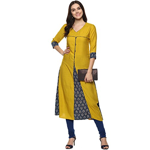 a4f9623ae4 Aahwan Indian Kurtis for Women Mustard Solid and Printed Rayon A-line Half  Sleeves Calf